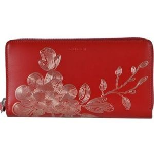 NWT Gucci Red Leather Floral Zip Wallet 465858